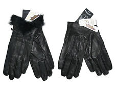 Ladies 100% GENUINE SOFT LEATHER GLOVES FLEECE INNER LINNING - Faux Fur - Bow