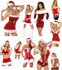 Miss Sexy Santa Ladies Christmas Xmas Womens Mrs Fancy Dress lingerie Costume