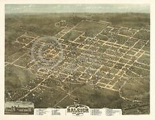 1872 LARGE PANORAMIC BIRD'S EYE MAP RALEIGH NC Largest Sizes