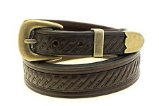 "Men's 1 3/8"" Tapered Dark Brown English Bridle Leather Belt Embossing Buckle Set"