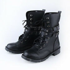 Buckle Rivet Lace Combat Martin Boots Mid Calf Punk Round Toe Knight Boots Women
