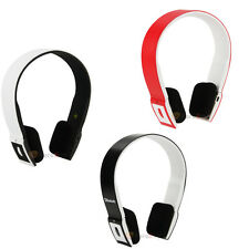Black/White/Red Bluetooth Wireless Headset/Headphones With Call Mic/Microphone