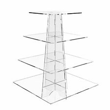 4 Tier Cup Cake Stand Wedding Birthday Party Acrylic Cupcake Display - Square