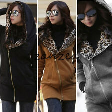S M L XL XXL Women Leopard Long Sleeve Hoodie Tops Fleece Jacket Coat Sweatshirt
