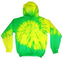 NWOT BRIGHT Flourescent Tie Dye Lime & Yellow color Unisex Hoodie