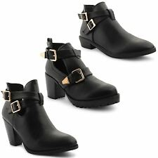 New Ladies Low Mid Heel Cut Out Biker Buckle Chelsea Black Boots Size UK 3-8