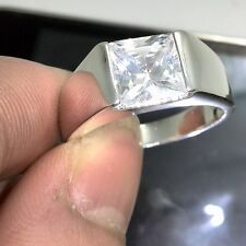 Brand Jewellery Men's 925 Silver Princess Cut White Topaz Wedding Ring Sz 7-12