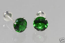 Birthstone earrings Emerald May 925 silver screwback cz cubic zirconia round