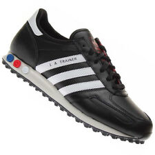 New Mens Adidas Original LA Black/White Leather Trainers UK 7 8 8.5 9 9.5 10 11