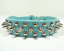 Spiked Studded Rivets Blue PU Leather Dog Collar Pet Collar Size XS S M L