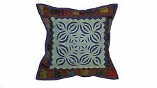 Purple patch work Indian Pillow cover 16x16 inches embroidered