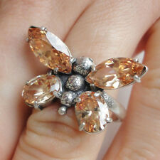 Yellow TOPAZ ring Silver RING - Butterfly ring size 8 Q - HandMade 925 Sterling