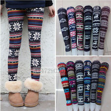 Snow Womens Winter Ladies Girl Colorful Print Leggings Pencil Sexy Trouser S