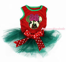 Camouflage Minnie Hot Red Sleeveless Minnie Bow Teal Green Pet Dress Dog Outfit