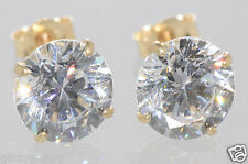 14k Yellow Gold Stud Earrings CZ Cubic Zirconia Round Basket 2mm-10mm Clear