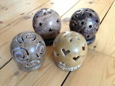 SOAPSTONE BALL TEALIGHT CANDLE INCENSE HOLDER NIGHTLIGHT NEW AGE PAGAN