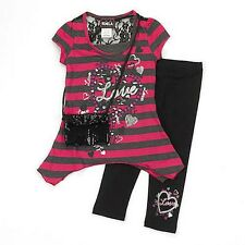 RMLA Girl's Size 5 OR Size 6 LOVE Striped Tunic, Leggings, Purse Set, Outfit NEW