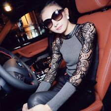 Women's Knitted Sweater Lace Stitch Long Sleeve Slim Pullover Base Shirt 2 Color