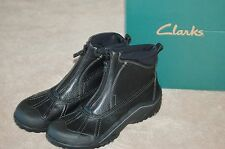 CLARKS Womens Muckers Glaze Winter Boots Black Leather