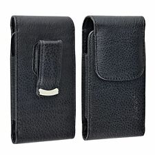 Deluxe Black Flip Leather Case Cover Skin w/Clip For Cellphone Mobile Phone