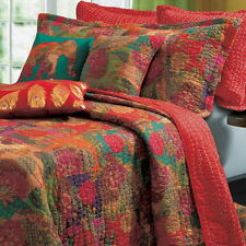 EXOTIC TROPICAL Red FLORAL Reversible Cotton QUILT SET Twin Full/Queen King