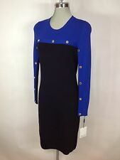 Calvin Klein NEW Black and Royal Blue Knitted Dress Gold CK Metal Studs