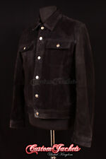 Men's TRUCKER Black SUEDE Stitch Western Real Cowhide Leather Classic Jacket