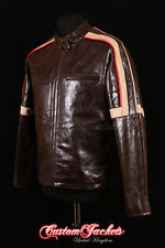 Men's WAR OF THE WORLDS Brown Glazed Real Leather Hollywood Hero Jacket