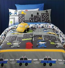 Cops n Robbers By Cubby House Kids -  Quilt Cover Set + Taxi Cushion Included