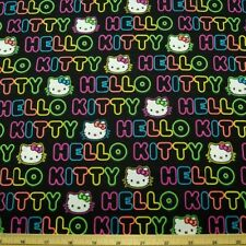 Hello Kitty Neon Word In Lines 100% Cotton Fabric