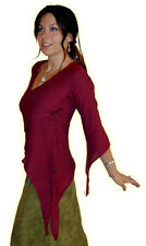 BEAUTIFUL BURGUNDY RED ASYMMETRIC ELVIN TOP WITH POINTY MEDIEVAL HOOD S M 10 12