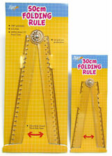 Folding Ruler Clear Plastic 180 Degree Rule Protractor 30cm 50cm With mm