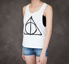 Harry Potter Deathly Hallows Symbol Drawing Sexy Sideboob Crop Tank Top Low Cut