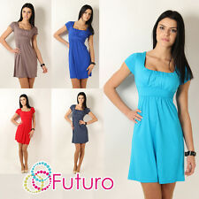 ♥ Elegant Women's Mini Dress ♥ Short Sleeve Sqare Neck Tunic Sizes 8 - 18 8944