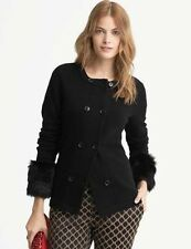 NWT! Banana Republic Women Black Faux Fur Cuff Sweater Cardigan Jacket XS, S, M