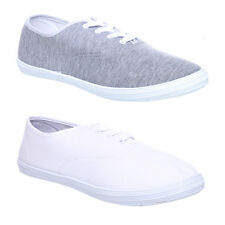 MENS BOYS FLAT GYM WALKING PLIMSOLES LIGHT TRAINERS SNEAKERS LACE UP SHOES SIZE
