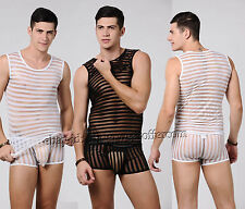 New Sexy Men's See-through Mesh Underwear Set Stripe Transparet Tank Top + Boxer