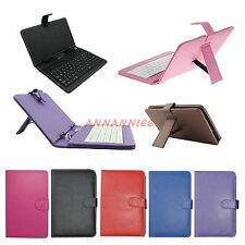 "7 inch USB Keyboard Leather Stand Folio Case Cover for 7"" Tablet PC Universal"