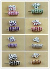 20 Pcs 8mm Silver Rondelle Spacer Beads Czech Crystal Rhinestone Charms