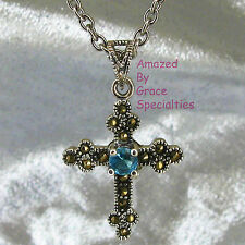 925 STERLING SILVER Aquamarine Blue Cross w-Marcasites - SST CHAIN CHOICE!