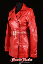 Ladies Red Real Lambskin Leather TRENCH COAT Belted Jacket Stylish Mac
