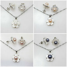 Natural pearl & white shell Flower Earring pendant Jewelry Sets Fashion