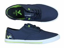 MENS NEW VOI JEANS FIERY PATENT LACE-UP PLIMSOLLS TRAINERS IN NAVY COLOUR 6-12