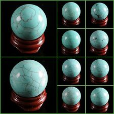 "30mm Howlite turquoise sphere decor statue 1.2"" Free stand"