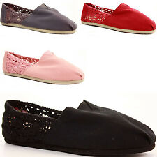 Ladies Canvas Trainers Plimsoles Plimsolls Shoes Slip on Pumps Size Espadrilles