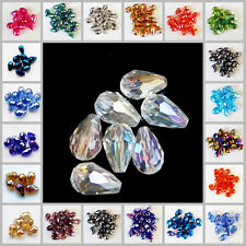Wholesale 20pcs Faceted Teardrop Glass Crystal Charm  Loose Spacer Beads 8x12mm