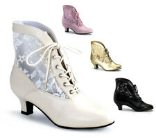 LADIES VICTORIAN WEDDING BOOTS LACE ANKLE IVORY BLACK GOLD PINK BURLESQUE