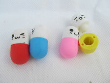 SET OF 4 NOVELTY IWAKO STYLE PILLS TABLET MEDICINE PUZZLE RUBBER ERASERS UK SELL