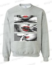 Blunt Roll Red Lips CREWNECK Hot Girl Rolling Blunt 420 Roll Up weed Sweater