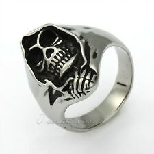 Mens Gothic Biker Black Silver Tone Wrap Death Skull 316L Stainless Steel Ring